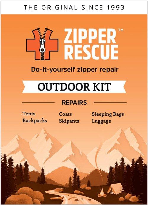 Do-it-yourself zipper repair kit for outdoor gear and accessories.