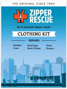 Do-it-yourself zipper repair kit for clothing and accessories