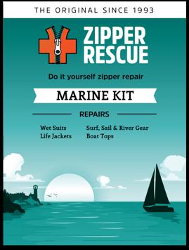 Do-it-yourself zipper repair kit for boatsandmarine gear.